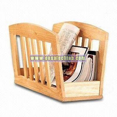 Natural Wooden Magazine Rack