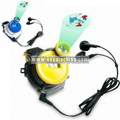 Multifunction FM Radio Watch with Projector and Earphones
