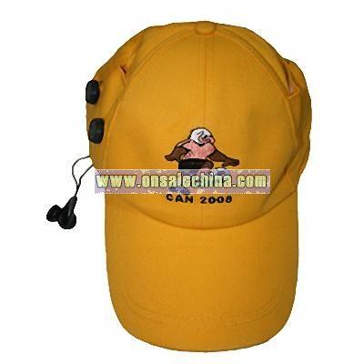 Baseball cap radio with earplug