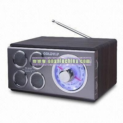 Portable Wooden Radio with AC and DC input