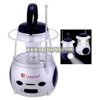 Radio lantern-flashlight and FM scan radio with a speaker and antenna