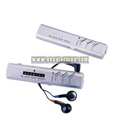Stick shape FM automatic scan radio with earphones
