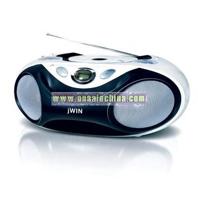 Portable audio CD player with analog AM/FM stereo radio
