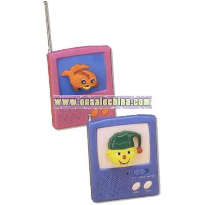 Colorful FM scan radio with character that has moving lips