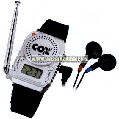 FM watch radio with built in speaker and alarm clock