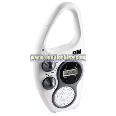 Weather resistant radio with carabiner