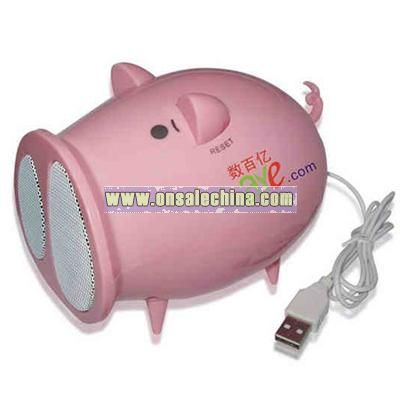 Foldable pig shaped USB mini speaker with built-in FM radio
