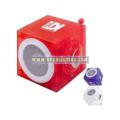 Imprinted AM / FM cube radio with speaker and retractable antenna
