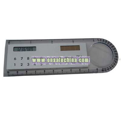 Slim new calculator with a magnifier and ruler
