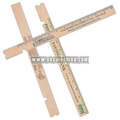 Natural wood oven rack jockey with inch scale ruler