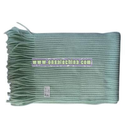 100% Cashmere-like Knitted Ribbed Scarf