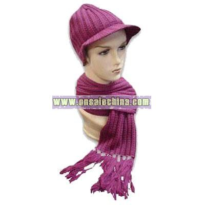 100% Cotton Knitted Hat and Scarf Set