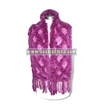 Knitted Women Winter Fur Scarf