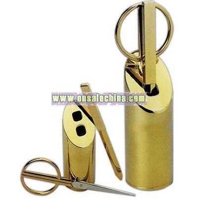 Brass scissors and letter opener set