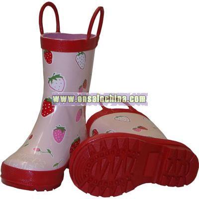 Children's Strawberries Rainboots