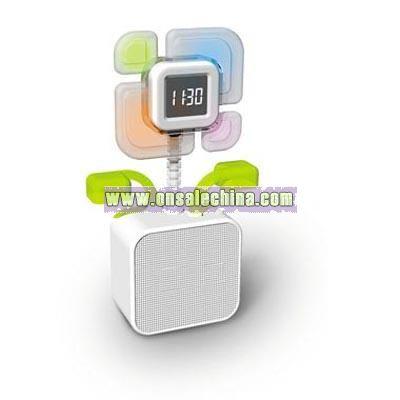 Folower shaped speaker with clock