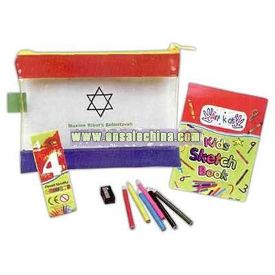 Coloring book set in a small zippered pouch