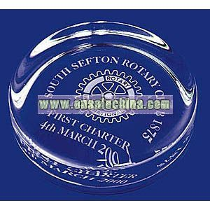 WHIRLOW ROUND GLASS PAPERWEIGHTS