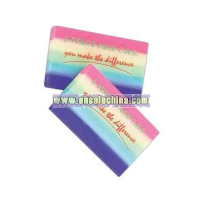 Rainbow colored rectangular eraser