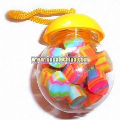Erasers in Candy Can