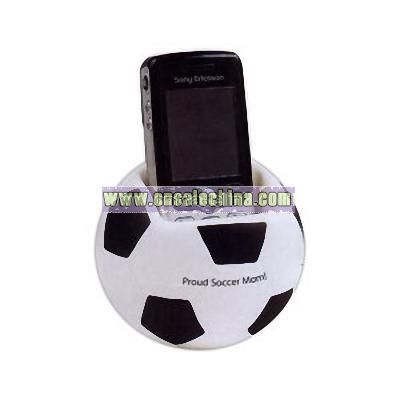 Stress reliever sports ball cell phone holder.