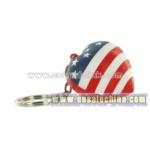 Patriotic V. Heart Key Chain