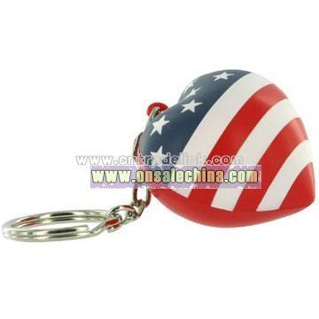 Patriotic Heart Key Chain Stress Balls