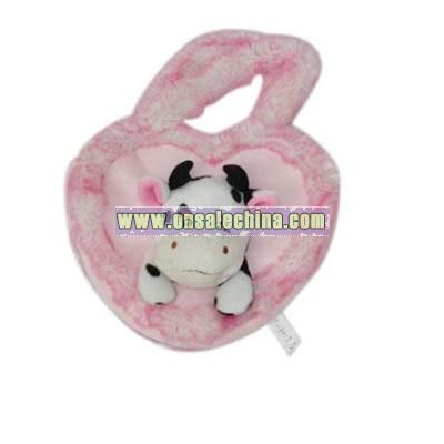 Plush Pink Heart Shaped Handbag