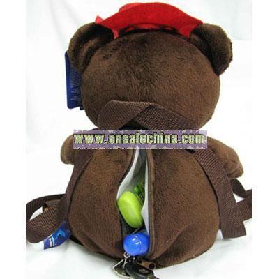 Plush backpack coffee bear