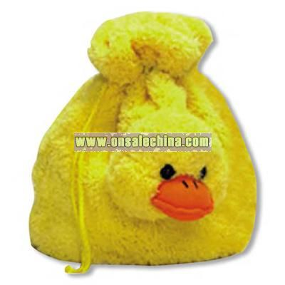 Soft plush duckling bag with drawstring and fully lined