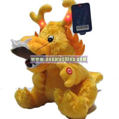 Happy Birthday Music and Flash Stuffed Dragon