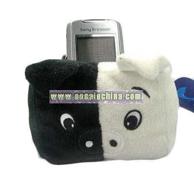Plush Black and White Pig Mobile Holder