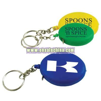 Plastic mini oval shape tape measure key chain