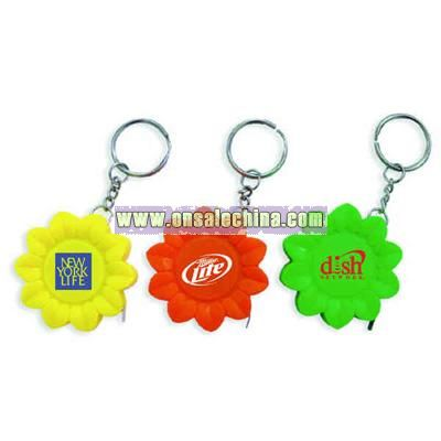 Sunflower shape tape measure with key chain