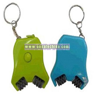 Plastic massage key chain ruler