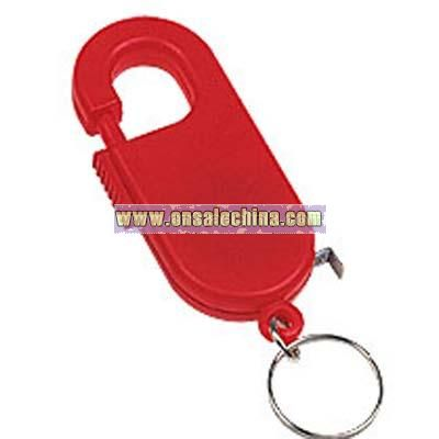 Retractable tape measure with spring clip and split ring