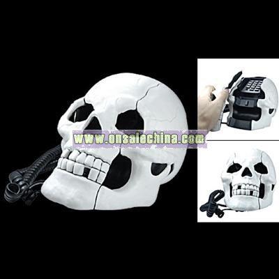 Fearful Skull Shape Novelty Telephone Flashing Phone White