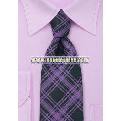Checkered Pattern Necktie in Purple and Black