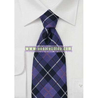 Indigo and Purple Tartan Check Tie