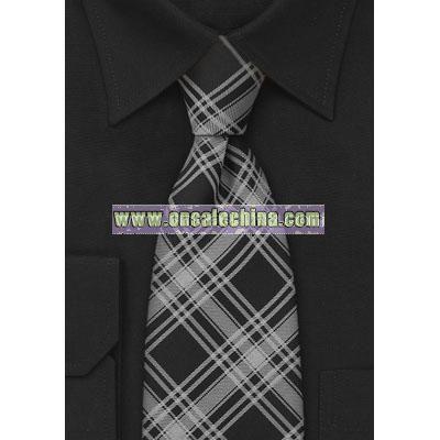 Black and Silver Checkered Necktie