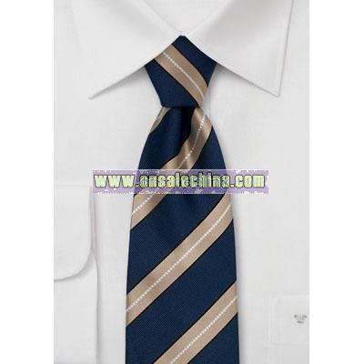 Modern Italian silk tie Striped tie in navy blue and bronze