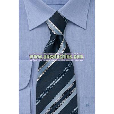 Dark blue necktie with diagonal stripes