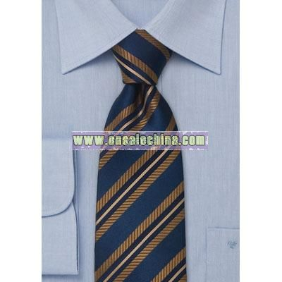 Midnight blue silk tie with copper diagonal stripes
