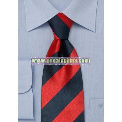 Wide striped Silk tie in dark blue and red