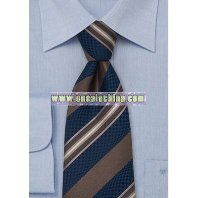 Navy & Brown Striped Silk Tie