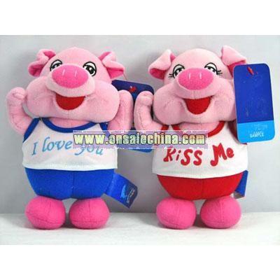 plush sport valentine pig