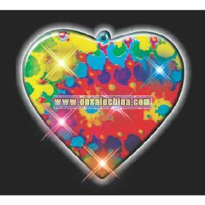 Printed tie dye heart flashing pin