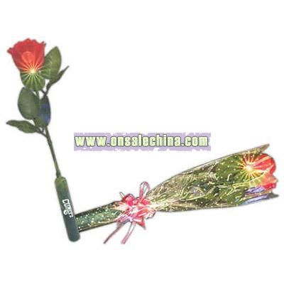 Light up silk rose with red LED