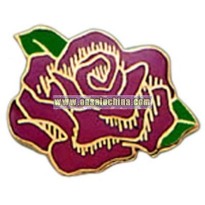 Red stock rose shape pin