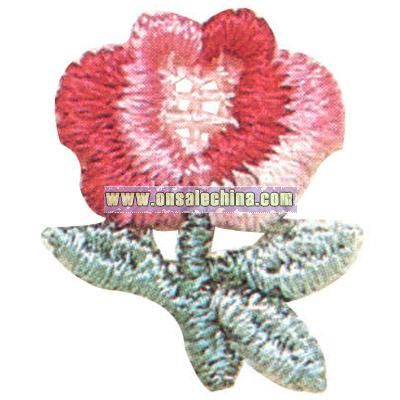 Multicolor Rose - Stock adhesive floral embroidered applique